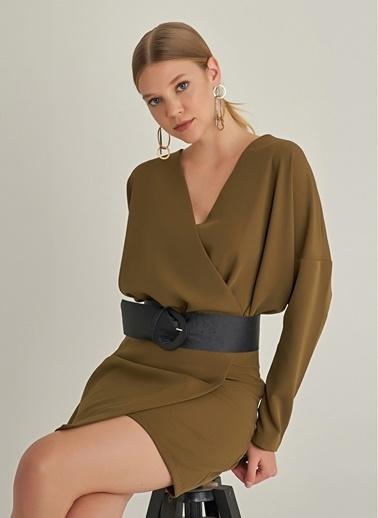 Ng Style Kruvaze Yakalı Yarasa Kol Elbise Yeşil